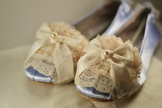 Special Size 8 - Marie Antoinette Pale Blue & Ivory Ballet Flats