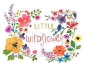 Children's Art -- LITTLE WILDFLOWER -- Art Print