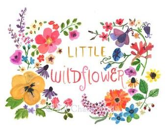 Children's Art -- LITTLE WILDFLOWER -- Art Print