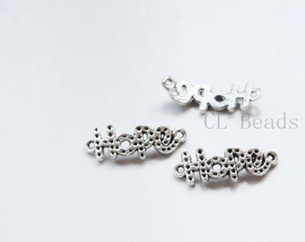 30pcs Oxidized Silver Tone Base Metal Links - Hope 22x9mm (36060Y-C-406)