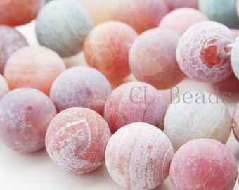 15 Inch Full Strand Natural Matte Finished Agate-Round 20mm (127)