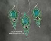 Chrysocolla and Silver Flower Bead Embroidered Earring and Necklace Set