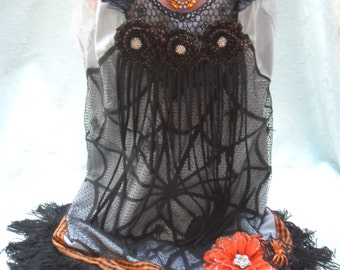 FLAPPER Halloween Fringe Gatsby 1920s - Vintage Slip Make Over - Gray, Black and Orange