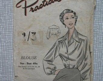 "1950s Blouse - 40"" Bust - Practical Paper Patterns"