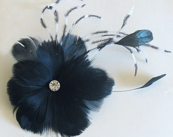 Black feather bridal clip - special occasion ladies hair clip - feather fascinator