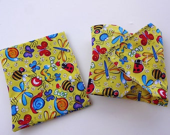 Bugs and Butterflies Reusable Lunch Duo - Sandwich Wrap and Snack Bag