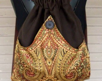 Cotton Paisley Backpack Brown Hippie Backpack  Sling Bag  Book Bag Backpack Boho Bag  Piperscrossing