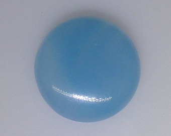 Blue Chalcedony round cabochon, 26.8mm, weighs 43.80 carats                           013-17-006
