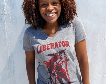 Vneck T-shirt, The Liberator, Unisex Heather Grey