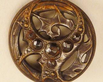 BRONZE  LEAF BUTTON  Metal Victorian Steel accents round  Vintage  Pierced 7/8 inch diam