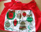 Vintage Kitschy Merry Christmas Feliz Navidad Decorative Baking Half Apron