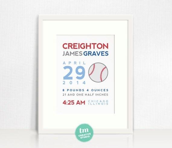 8x10 Custom Birth Print - Sports Themed Wall Art (Baseball, Basketball, Football, or Socder)