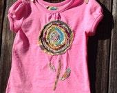 T-Shirt - Flowering fancy! OOAK Handmade Art Size 2-3t
