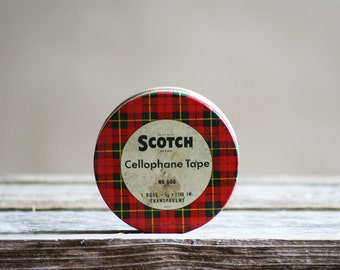 Vintage Scotch Tape Tin, Red and Green Plaid, Christmas Decor, Collectible