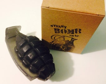 Black Powder Soap hand grenade soap by Stinkybomb Soap
