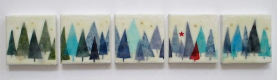 Forest Walk, encaustic painting, 5 panel painting