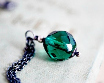 Glass Necklace, Glass Pendant, Czech Glass, Pendant Necklace, Emerald Green, May Birthstone, Sterling Silver, Glass Jewelry, PoleStar