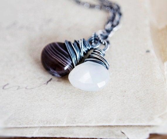 Botswana Agate Necklace Silver Plum Pendant Simplistic PoleStar