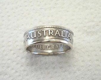 Sizes 4 - 7. Coin Ring.  Australia Silver Shilling.  Place Your Custom Order Here.