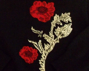 Andrea Gayle black lightweight sweater floral embroidery