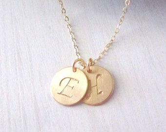 Gold Initial Necklace, Double Gold Initial Necklace, Two Gold Initials, Gold Letter Necklace, Personalized Jewelry
