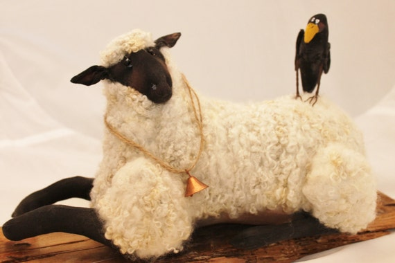 Sheep, Primitive Sheep Sculpture, Needle Felted Sheep with Crow