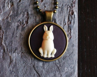 Rabbit cameo necklace, bunny cameo necklace, animal necklace, black cameo necklace