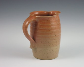 Coral/Tan Maple Syrup Pitcher