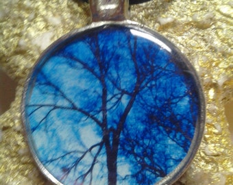 Blue photo tree necklace