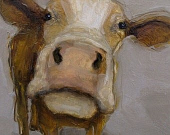 CURIOUS COW -  Giclee print from my original oil painting -  Farm Folk Art