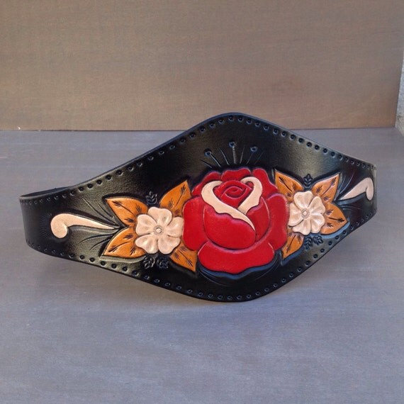 Midnight Rose ..........Hand Tooled Black Leather Wide Waist Cincher Belt