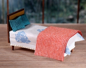 DAMASK - OOAK Dollhouse Miniature Bed Bedding Set 1:36 Scale for Tiny Bear Diorama