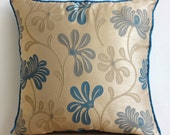 "Designer  Teal Blue Decorative Pillow Cover, Teal And Ivory Flower Floral Theme Pillows Cover Square  18""x18"" Silk - Teal Florals"