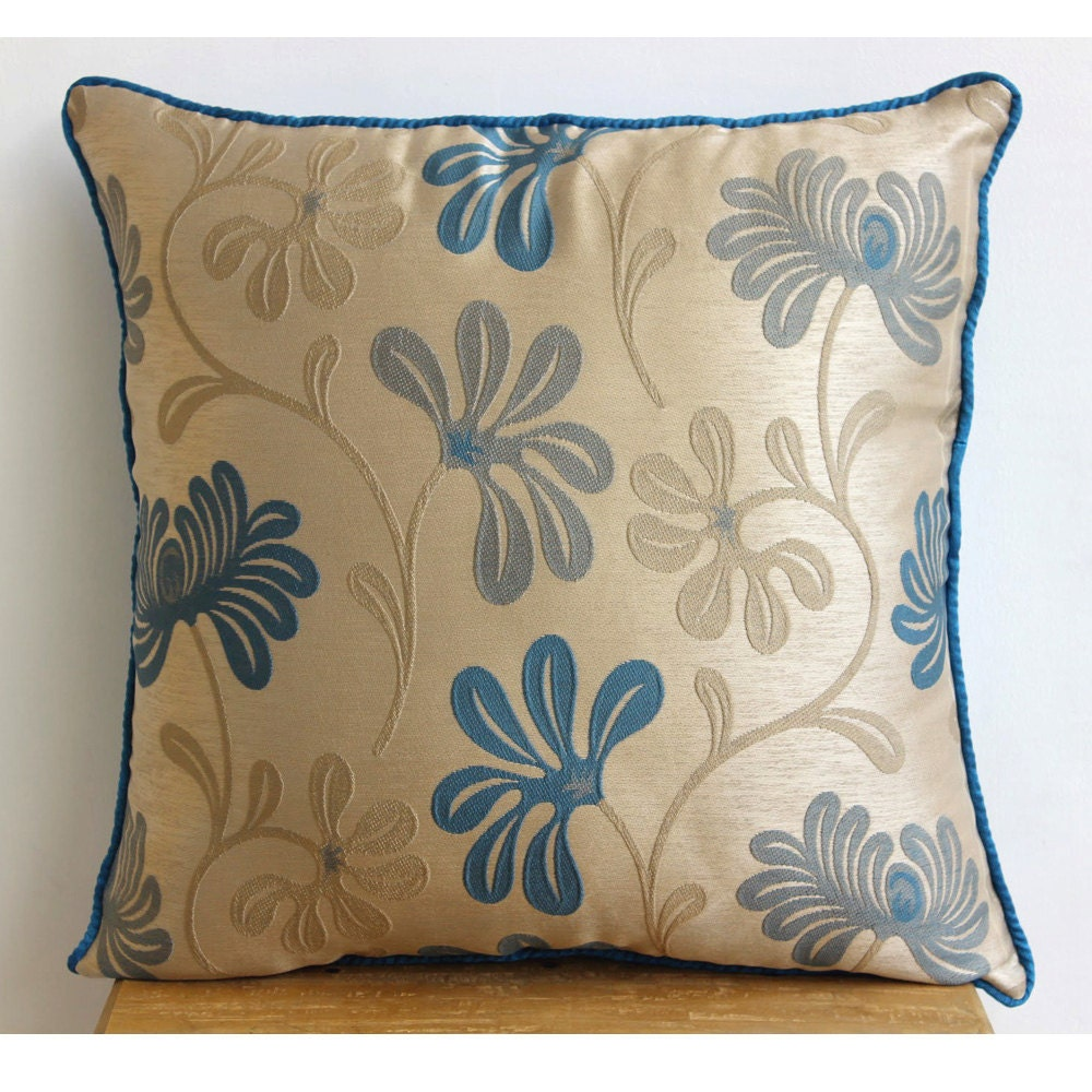 Teal Decorative Bed Pillows : Teal Blue Decorative Pillow Cover Square Teal And Ivory