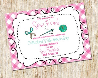 Sewing Party Invitation - Sewing Birthday Party - Gingham invitation