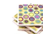 Ceramic Tile Coasters - Polka Dots - Lime Green Purple and Blue (Set of 4 Coasters)