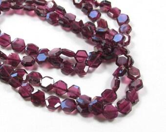 Fancy Shape Hexagon Rhodolite Garnet  Gemstone Beads  1/2 Strand