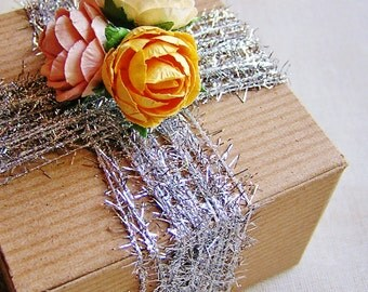 Silver Superfine Tinsel Twine- novelty garland, specialty glitter trimming, holiday gift wrap, sparkly twine- 15 yds