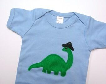 Brontosaurus Pirate Captain Dinosaur Onesie Size 12-18 Months