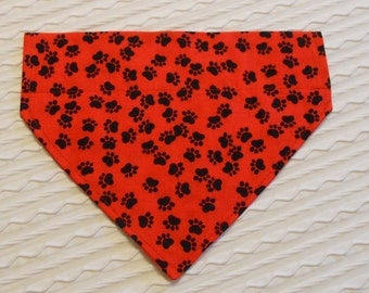 Dog Bandana with Paw Prints on Red Sizes XS to L Dog Collar Style Dog Bandana