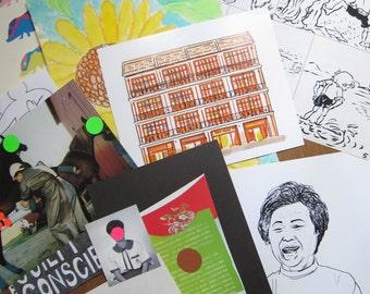 Sale - 10 Artworks (original illustrations, collages, print)