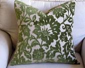 RAISED VELVET fern green Pillow with feather down insert 20x20