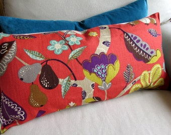 13x26 GRANADA CORAL Sofa  bolster pillow 13x26 with insert