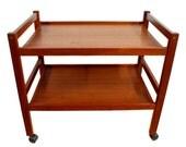 Danish Modern Teak Serving Bar Cart