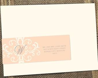 Wrap around labels, address labels, return address label, wedding invitations, guest address labels, damask wrap around labels, blush labels