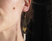 White Howlite Spear and Shield Earrings