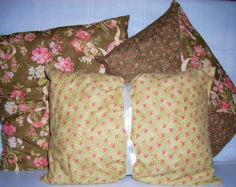 DECORATIVE Floral Pillows--Set of 3