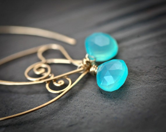 Heart Within - 14k Gold Filled Wire Sculpted Hoops with Aqua Chalcedony Briolettes