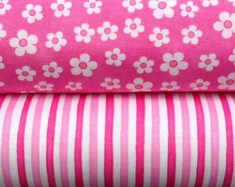 Me and My Sister Pink Flowers Favorites Stripe Fabric Fat Quarters Moda