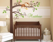 Monkey Wall Decal Jungle Wall Decal Monkey and Tree Wall Decal Personalized Nursery Decor Baby Room Decor Wall Art Curly Tree Wall Decal